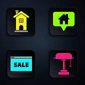 Set Table lamp, Home symbol, Hanging sign with text Online Sale and Map pointer with house. Black square button. Vector