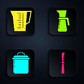 Set Knife , Measuring cup, Cooking pot and Measuring cup. Black square button. Vector