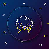 White and yellow line Storm icon isolated on dark blue background. Cloud and lightning sign. Weather icon of storm. Colorful outline concept. Vector Illustration