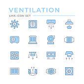 Set color line icons of ventilation
