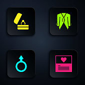 Set Greeting card, Wedding rings, Male gender symbol and Suit. Black square button. Vector