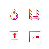 Set line Postcard with heart, Holy bible book, Male gender symbol and Home stereo two speakers. Gradient color icons. Vector