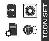 Set Global technology or social network, Hard disk drive HDD, File document and Computer cooler icon. Vector