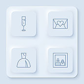 Set line Glass of champagne, Envelope with Valentine heart, Woman dress and Family photo. White square button. Vector