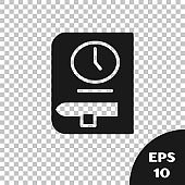 Black Time for book icon isolated on transparent background. Vector