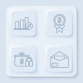 Set line Presentation financial with graph, schedule, chart, diagram, infographic, pie graph, Reward for good work, Closed wallet with lock and Envelope. White square button. Vector
