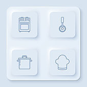 Set line Oven, Pizza knife, Cooking pot and Chef hat. White square button. Vector