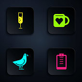 Set Clipboard with checklist, Glass of champagne, Dove and Coffee cup and heart. Black square button. Vector