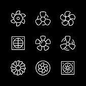 Set line icons of fan