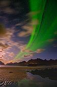 Polar Lights over the beach in norway, lofoten islands Aurora Borealis