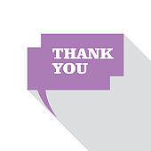 Thank you lettering on flat design with speech bubble icon.