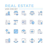 Set color line icons of real estate