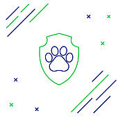 Blue and green line Animal health insurance icon isolated on white background. Pet protection icon. Dog or cat paw print. Colorful outline concept. Vector Illustration