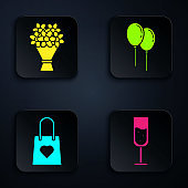 Set Glass of champagne, Bouquet of flowers, Shopping bag with heart and Balloons with ribbon. Black square button. Vector