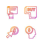 Set line Business man planning mind, Cursor and coin, Online shopping on screen and Buy button. Gradient color icons. Vector