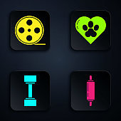 Set Rolling pin, Film reel, Dumbbell and Heart with animals footprint. Black square button. Vector