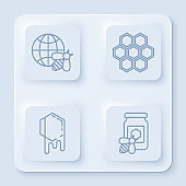 Set line Honeycomb map of the world and bee, Honeycomb, Honeycomb and Jar of honey with bee. White square button. Vector