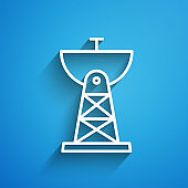 White line Satellite dish icon isolated on blue background. Radio antenna, astronomy and space research. Long shadow. Vector Illustration