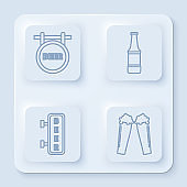 Set line Street signboard with inscription Beer, Beer bottle, Street signboard with inscription Beer and Glass of beer. White square button. Vector