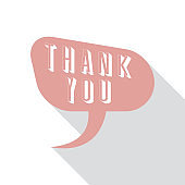 Vector speech bubble in flat design with shadow and phrase Thank you.