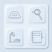 Set line Protractor grid for measuring degrees, Magnifying glass, Microscope and Notebook. White square button. Vector