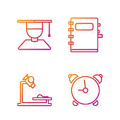 Set line Alarm clock, Microscope, Graduate and graduation cap and Notebook. Gradient color icons. Vector