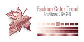 Fashion color trend Fall/Winter 2020-2021. Colour metallic palette with different shades of bronze color and gradient. Maple tree leaf on white background. Paint palette mock up. Vector illustration