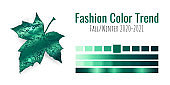 Fashion color trend Fall/Winter 2020-2021. Colour palette with different shades of Ultramarine Green and gradient. Maple tree leaf on white background. Paint palette mock up. Vector illustration