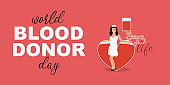 Young woman nurse donation blood in heart. World Blood Donor Day - 14 June. Cartoon flat doctor character on red background. Vector Illustration banner with text - World Blood Donor Day