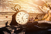 sun: Vintage pocket watch on a wood board, colourful leaves, autumn, sunshine