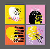 Abstract hand drawn template design elements. Abstract art set for poster, web, banner.