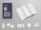 Mockup of vector tri-fold, white open and closed brochures, for design presentation.