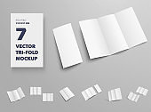 Vector standard booklet template isolated on gray background, front and back view, for presentation of design and pattern.