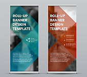 Template roll up banner with geometric design for presentation, print and media advertising.