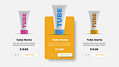 UI / UX product card template for a website with rounded buttons. Banner design for online store.