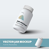 Jar vector template with lid, plastic packaging with realistic shadows, for presentation design, pattern.