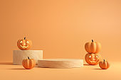 Podium and minimal abstract background for Halloween, 3d rendering geometric shape.