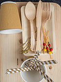 Recyclable, biodegradable, eco friendly wooden cutlery - an alternative to plastic single use. Close up