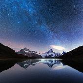 Incredible night view of Bachalpsee lake