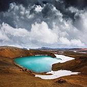 Acid hot lake in the geothermal valley Leirhnjukur