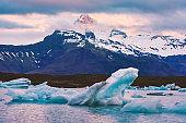 Icebergs in Jokulsarlon glacial lagoon