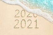 2021 and 2021 written on the beach background