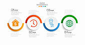 Vector infographic template with icons and 4 options or steps. Infographics concept for business