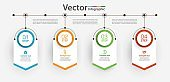 Business vector infographic design template with icons and 4 options or steps