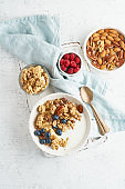 Yogurt with Granola. Breakfast, healthy diet food with oat flakes, nuts