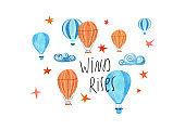 Kids Gouache Painted Air Balloons Illustration