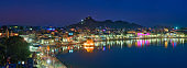 View of famous indian sacred holy city Pushkar with Pushkar ghats. Rajasthan, India. Horizontal pan