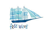 Nautical Poster With Watercolor Painted Sailboat
