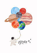 Funny Space Illustration With Astronaut Holding Planets