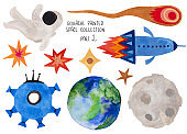 Cosmic Set Of Funny Space Ships and Objects